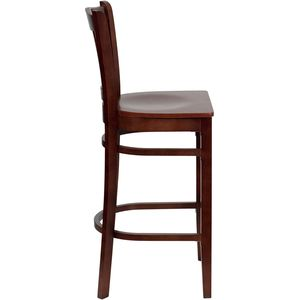 HERCULES™ Mahogany Finished Vertical Slat Back Wooden Restaurant Bar Stool by Flash Furniture