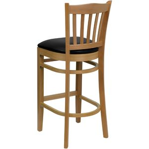 HERCULES™ Natural Wood Finished Vertical Slat Back Wooden Restaurant Bar Stool - Black Vinyl Seat by Flash Furniture