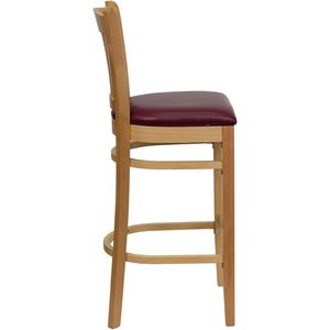 HERCULES™ Natural Wood Finished Vertical Slat Back Wooden Restaurant Bar Stool - Burgundy Vinyl Seat by Flash Furniture
