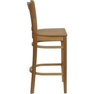 HERCULES™ Natural Wood Finished Vertical Slat Back Wooden Restaurant Bar Stool by Flash Furniture
