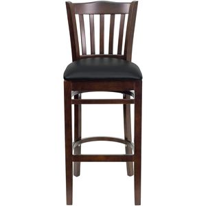 HERCULES™ Walnut Finished Vertical Slat Back Wooden Restaurant Bar Stool - Black Vinyl Seat by Flash Furniture