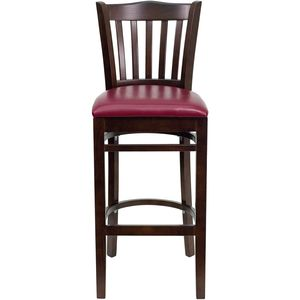 HERCULES™ Walnut Finished Vertical Slat Back Wooden Restaurant Bar Stool - Burgundy Vinyl Seat by Flash Furniture