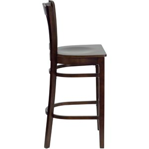 HERCULES™ Walnut Finished Vertical Slat Back Wooden Restaurant Bar Stool by Flash Furniture