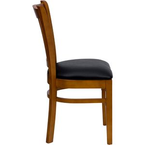 HERCULES™ Cherry Finished Vertical Slat Back Wooden Restaurant Chair - Black Vinyl Seat by Flash Furniture
