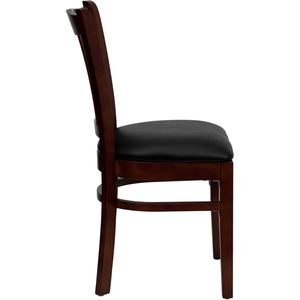 HERCULES™ Mahogany Finished Vertical Slat Back Wooden Restaurant Chair - Black Vinyl Seat by Flash Furniture