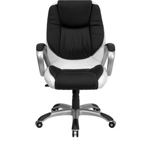 Mid-Back Black and White Leather Executive Swivel Office Chair by Flash Furniture