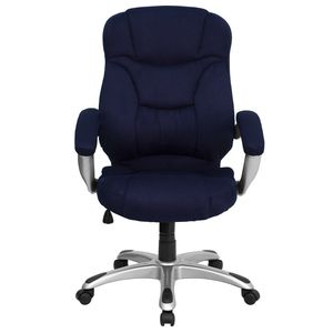 High Back Navy Blue Microfiber Upholstered Contemporary Office Chair by Flash Furniture