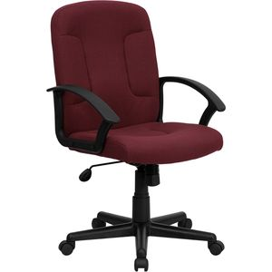 Mid-Back Burgundy Fabric Task and Computer Chair with Nylon Arms by Flash Furniture