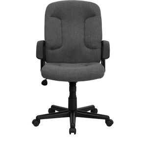 Mid-Back Gray Fabric Task and Computer Chair with Nylon Arms by Flash Furniture