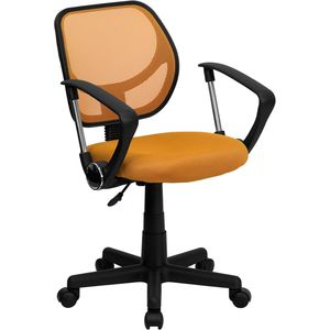 Mid-Back Orange Mesh Task Chair and Computer Chair with Arms by Flash Furniture