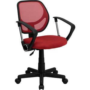 Mid-Back Red Mesh Task Chair and Computer Chair with Arms by Flash Furniture