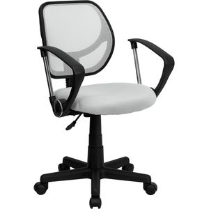 Mid-Back White Mesh Task Chair and Computer Chair with Arms by Flash Furniture