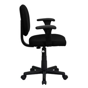 Mid-Back Ergonomic Black Fabric Task Chair with Adjustable Arms by Flash Furniture