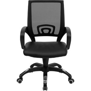 Mid-Back Black Mesh Computer Chair with Black Leather Seat by Flash Furniture
