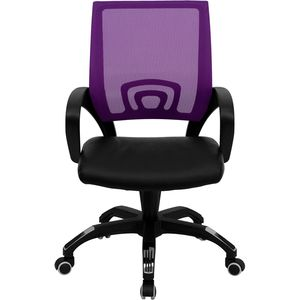 Mid-Back Purple Mesh Computer Chair with Black Leather Seat by Flash Furniture