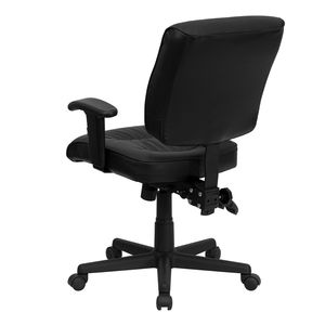 Mid-Back Black Leather Multi-Functional Task Chair with Height Adjustable Arms by Flash Furniture