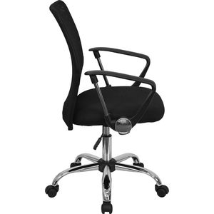 Mid-Back Black Mesh Computer Chair with Chrome Finished Base by Flash Furniture