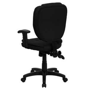 Mid-Back Black Fabric Multi-Functional Ergonomic Task Chair with Arms by Flash Furniture