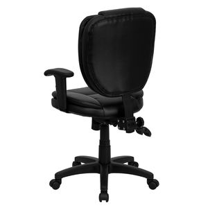 Mid-Back Black Leather Multi-Functional Ergonomic Task Chair with Arms by Flash Furniture