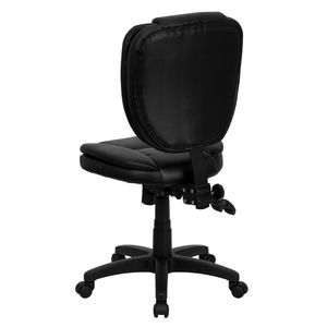 Mid-Back Black Leather Multi-Functional Ergonomic Task Chair by Flash Furniture