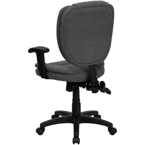 Mid-Back Gray Fabric Multi-Functional Ergonomic Task Chair with Arms by Flash Furniture
