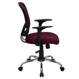 Mid-Back Burgundy Mesh Office Chair with Chrome Finished Base by Flash Furniture