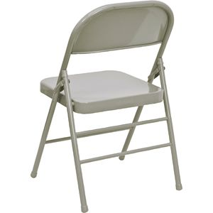 Triple Braced & Double Hinged Gray Metal HERCULES™ Folding Chair by Flash Furniture