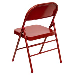 Triple Braced & Double Hinged Red Metal HERCULES™ Folding Chair by Flash Furniture