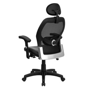High Back Super Mesh Office Chair with Black Italian Leather Seat by Flash Furniture