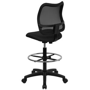 Mid-Back Mesh Drafting Stool with Black Fabric Seat by Flash Furniture