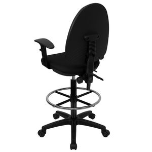 Mid-Back Black Fabric Multi-Functional Drafting Stool with Arms and Adjustable Lumbar Support by Flash Furniture