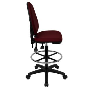 Mid-Back Burgundy Fabric Multi-Functional Drafting Stool with Adjustable Lumbar Support by Flash Furniture