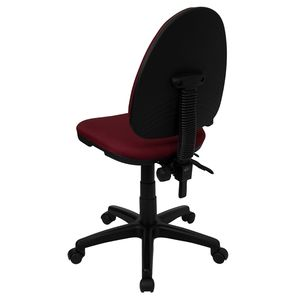 Mid-Back Burgundy Fabric Multi-Functional Task Chair with Adjustable Lumbar Support by Flash Furniture