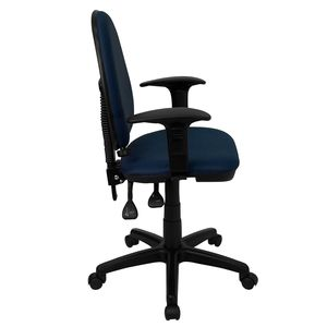 Mid-Back Navy Blue Fabric Multi-Functional Task Chair with Arms and Adjustable Lumbar Support by Flash Furniture