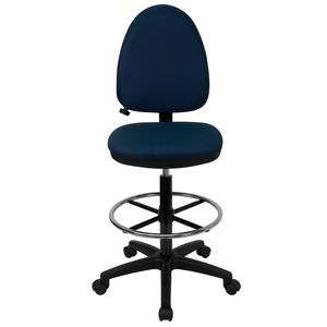 Mid-Back Navy Fabric Multi-Functional Drafting Stool with Adjustable Lumbar Support by Flash Furniture