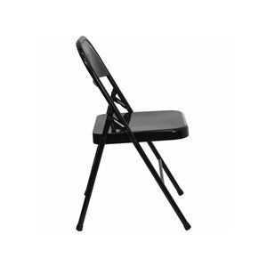 Triple Braced & Double Hinged Black Metal HERCULES™ Folding Chair by Flash Furniture