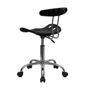Vibrant Black and Chrome Computer Task Chair with Tractor Seat by Flash Furniture