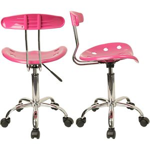 Vibrant Pink and Chrome Computer Task Chair with Tractor Seat by Flash Furniture