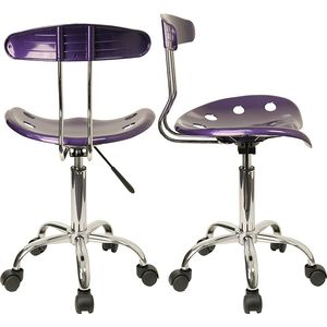 Vibrant Violet and Chrome Computer Task Chair with Tractor Seat by Flash Furniture