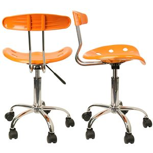 Vibrant Orange-Yellow and Chrome Computer Task Chair with Tractor Seat by Flash Furniture