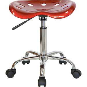 Vibrant Wine Red Tractor Seat and Chrome Stool by Flash Furniture