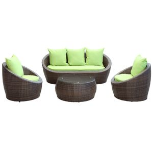 avo outdoor wicker patio 4pc sofa set in brown with green cushions by modway furniture