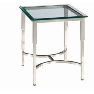 Sheila Square Glass Top End Table with Brushed Stainless Steel Base by Allan Copley Designs