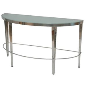 Sarah Half Moon Console Table with Frosted Glass Top on Polished Chrome Base by Allan Copley Designs