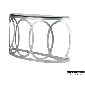 Alchemy Half Moon Console Table with Glass Top on Mirror Powder Coated Base by Allan Copley Designs