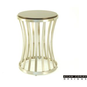 Alex Round End Table with Absolute Black Granite Top on Satin Nickel Plated Base by Allan Copley Designs