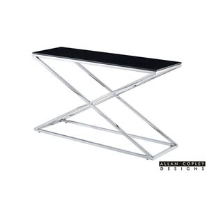 Excel Rectangle Console Table with Black Glass Top on Polished Stainless Steel Base by Allan Copley Designs