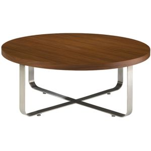 Artesia Round Cocktail Table with Mocca on Oak Top on Satin Nickel Base by Allan Copley Designs