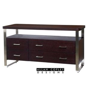 Artesia 6-Drawer Buffet with Mocca on Oak with Satin Nickel Frame by Allan Copley Designs