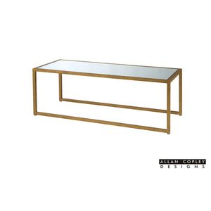 Grace Rectangle Mirror Glass Top Cocktail Table with Gold Leaf Finish Frame by Allan Copley Designs
